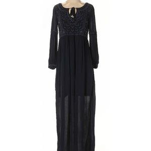 New Zara Navy Embroidered Maxi dress